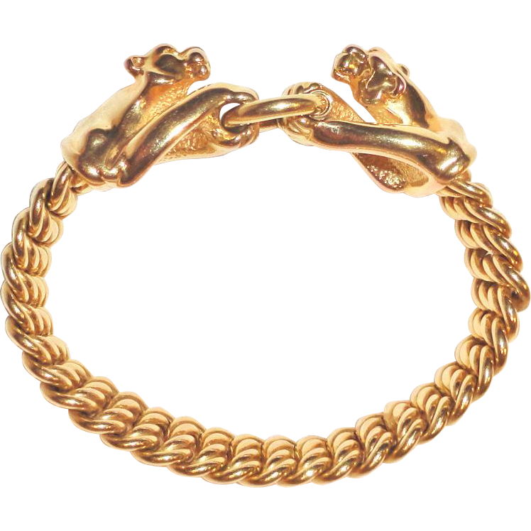 14k gold panther cat bracelet arezzo italy frans finds