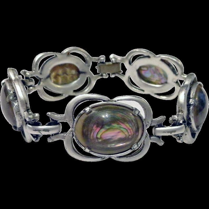Abalone Oval Cabochon Silver Tone Chunky Bracelet