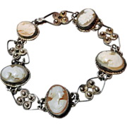 Antique 800 Silver Gilt Carved Shell Cameo Bracelet