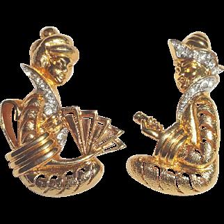Rhinestone Asian Oriental Couple Brooch Set Gold Plated