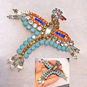 Art Deco Rhinestone Multi Colored Phoenix Rising Bird Brooch  HUGE  1930's
