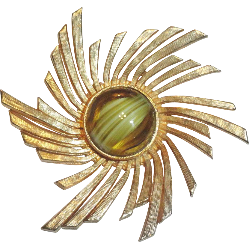 Accessocraft Gold Plated Art Glass Pinwheel Brooch