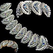 BSK Blue Aurora Borealis Rhinestone Silver Tone Bracelet