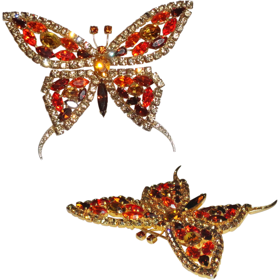 Large Rhinestone Butterfly in Flight Designer Signed