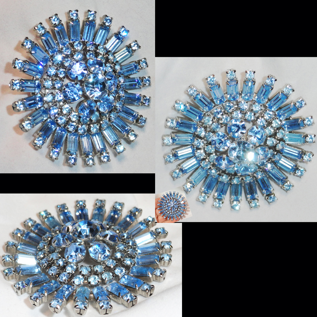 Ice Blue Baguette and Chaton Tiered  Domed Rhinestone Brooch