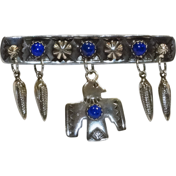 Sterling Silver Blue Lapis Dangling Thunderbird Brooch by Benjamin James