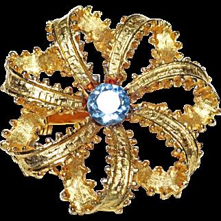 Blue Topaz Rhinestone Open Ribbon Brooch