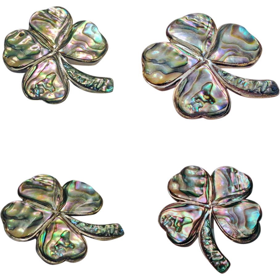 Sterling Silver Abalone Four Leaf Clover Brooch Mexico