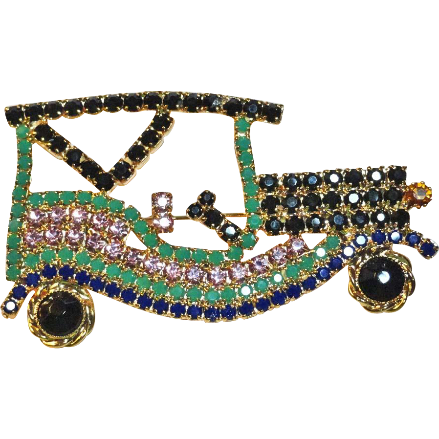 Rhinestone Old Time Car Brooch  LARGE