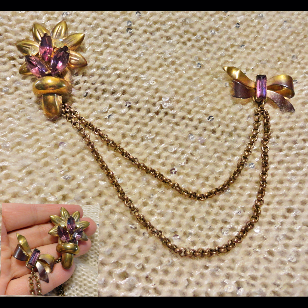 Rhinestone Flower and Bow Double Brooch Chatelaine Pin