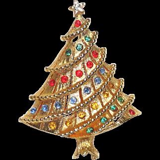 LJM Rhinestone Christmas Garland Tree Brooch