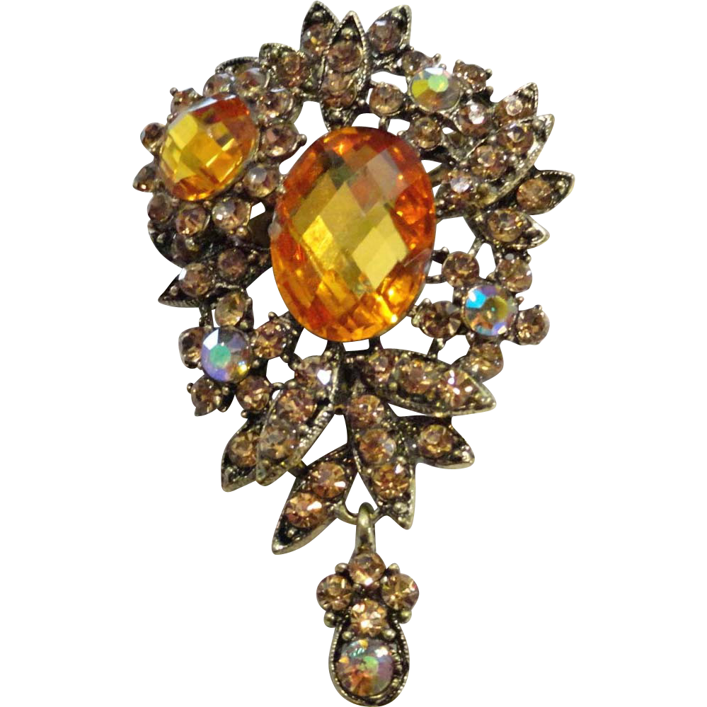 Large Tiered Citrine Rhinestone Flower AB Dangle Brooch