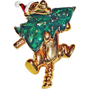 Disney Tigger Santa Carrying Christmas Tree Brooch