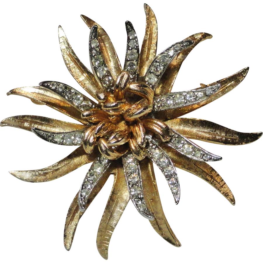 Coro Pave Rhinestone Two Tone Dimensional Flower Brooch