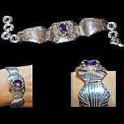 Charles Johnson Navajo Sterling Silver Amethyst Bracelet Signed