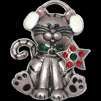 Kenneth Cole Christmas Cat Rhinestone Star Dangle Brooch