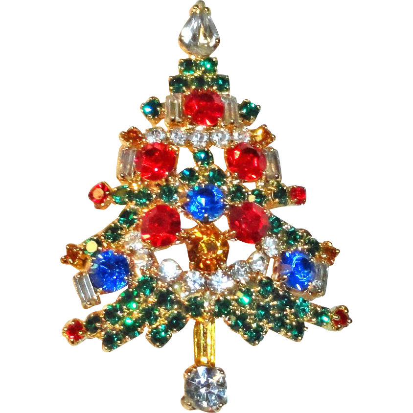 OTC Rhinestone Christmas Tree Brooch Signed