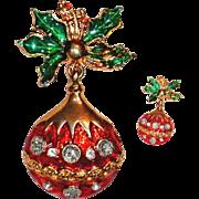 Red Christmas Rhinestone Ornament Dangle Brooch