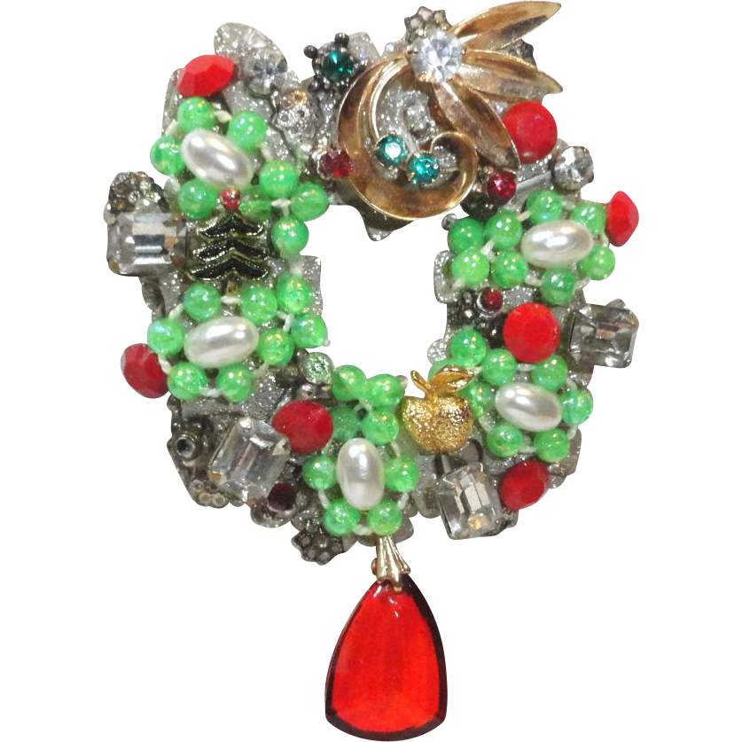 Large Christmas Wreath Dangling Rhinestone Puzzle Brooch