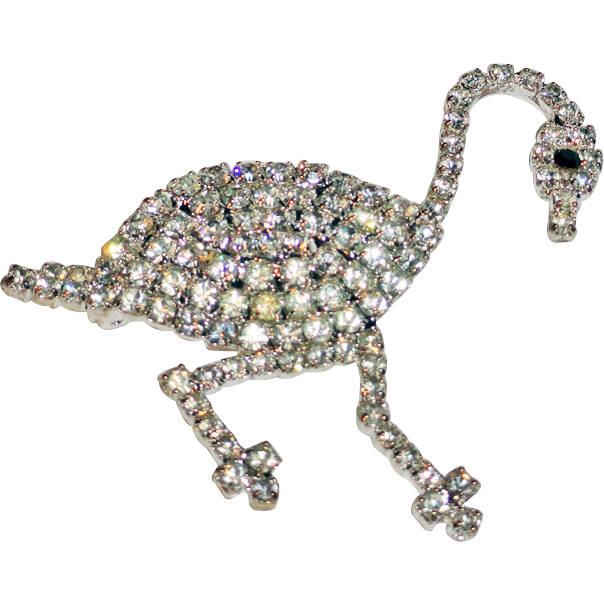 Clear Ice Rhinestone Goose Brooch