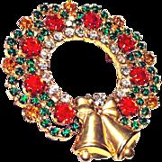 Rhinestone Christmas Wreath Bells Brooch