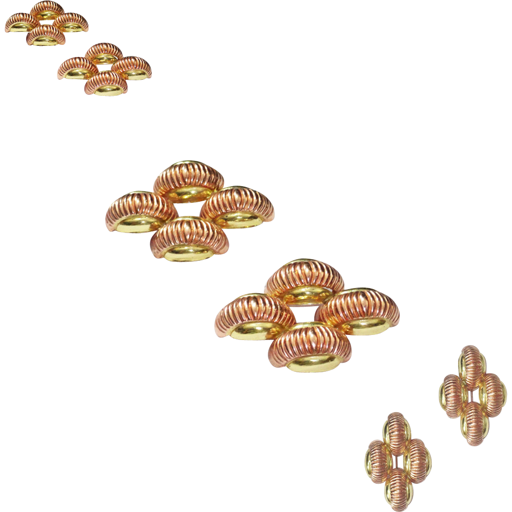 Coro Rose Gold and Yellow Gold Plate on Sterling Silver Brooches
