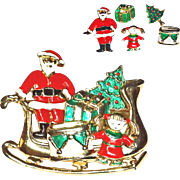 Santa Sleigh with Toys Earrings Brooch