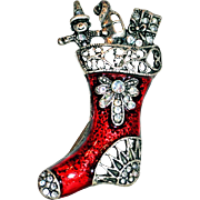Red Enamel Christmas Stocking Filled With Rhinestone Toys Brooch