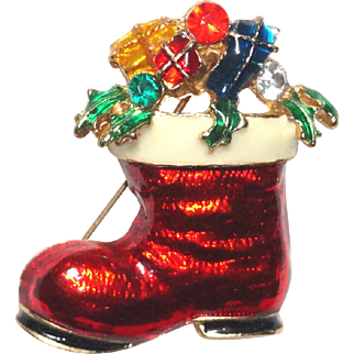 Santa's Boot Rhinestone Enamel Brooch