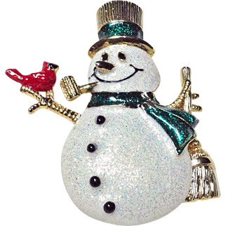 Snowman with Red Cardinal Glittery Christmas Brooch