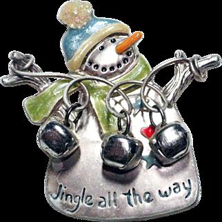 Jingle All The Way Snowman Brooch Signed TC
