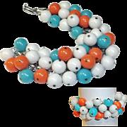 Turquoise Orange White Bead Cha Cha Bracelet  Japan