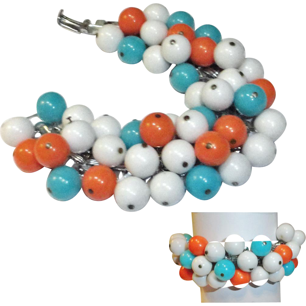 Turquoise Orange White Bead Cha Cha Bracelet  Japan