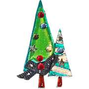 AJMC Christmas Trees Enamel Rhinestone Brooch
