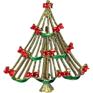 Christmas Tree Red Bow Brooch