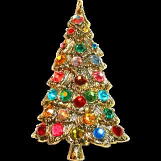 Dazzle Bright Rhinestone Christmas Tree Brooch