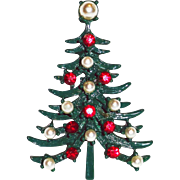 Green Enamel Faux Pearl Red Rhinestone Christmas Tree Brooch.