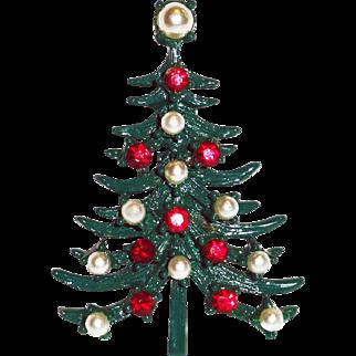 Green Enamel Faux Pearl Red Rhinestone Christmas Tree Brooch.