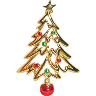 Red Green Gold Colored Enamel Openwork Christmas Tree Brooch