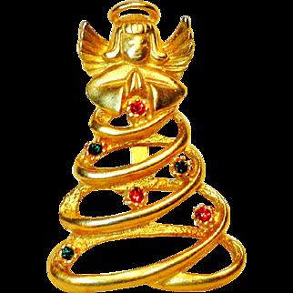 Angel Christmas Tree Rhinestone Brooch