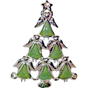 Lucite Glitter Angels Pyramid Christmas Tree Brooch