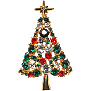 Large Glitzy Rhinestone Christmas Tree Brooch