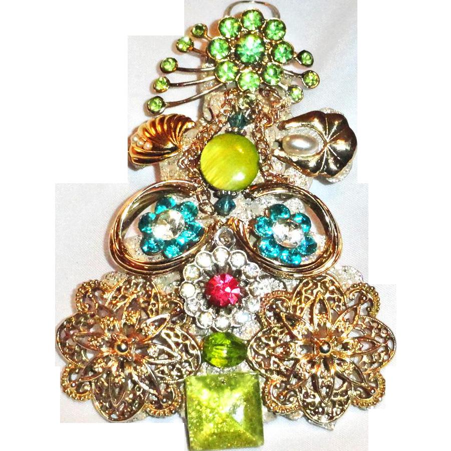 Christmas Tree Puzzle Rhinestone Brooch Pendant Ornament