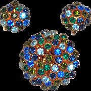 Blue and Green Rhinestone Multi Level Domed  Brooch Earrings
