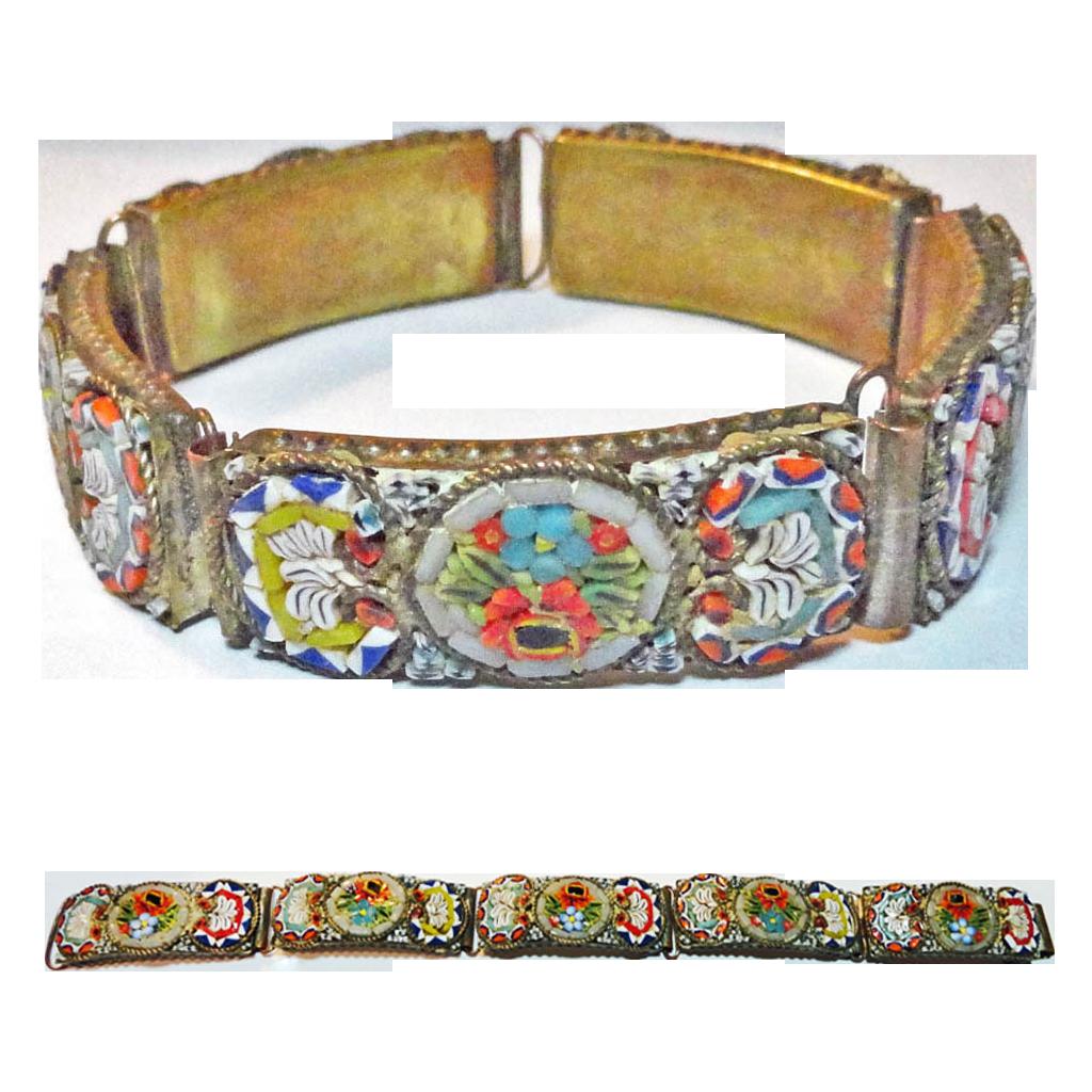 Victorian Art Glass Micro Mosaic Floral Bracelet