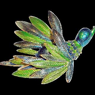 St Labre Enameled Flying Figural Duck Brooch
