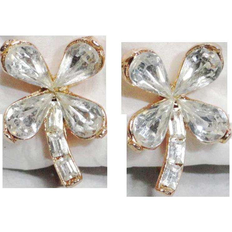 Trifari Clear Rhinestone Shamrock Clover Earrings