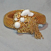 Gold Tone Mesh Flexible Wrap Style Bracelet Tassels Milk Glass