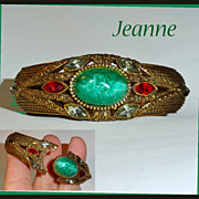 Etruscan Style Peking Glass Rhinestone Clamper Bracelet Signed Jeanne
