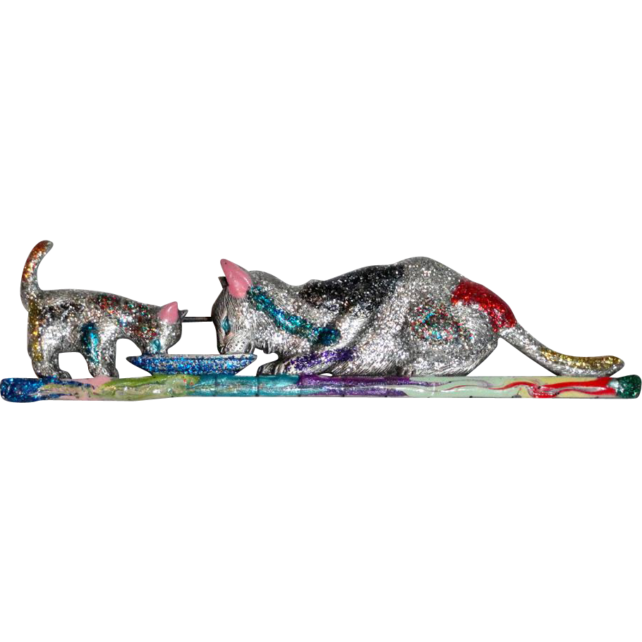 JJ Glitter Enamel Multi Color Mama Cat and Kitten Brooch Huge